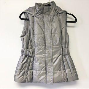 New York & Co. Gray hooded sleeveless Puff Coat